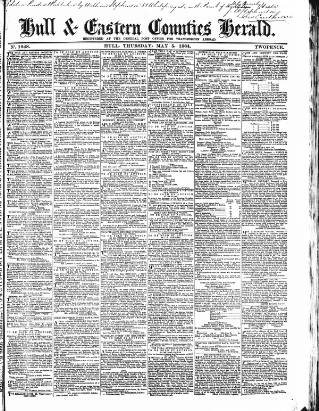 cover page of Hull and Eastern Counties Herald published on May 5, 1864