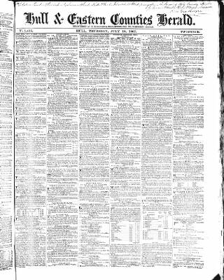 cover page of Hull and Eastern Counties Herald published on July 18, 1867