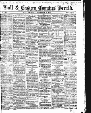 cover page of Hull and Eastern Counties Herald published on September 7, 1871