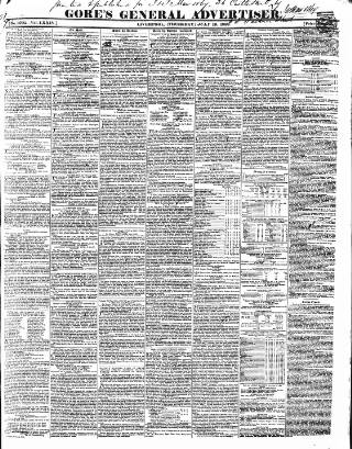 cover page of Gore's Liverpool General Advertiser published on July 19, 1838