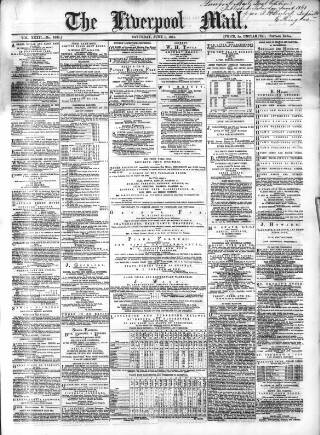 cover page of Liverpool Mail published on June 1, 1861