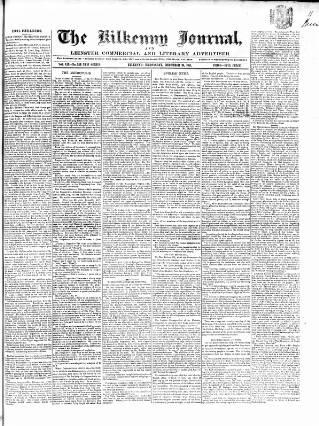 cover page of Kilkenny Journal, and Leinster Commercial and Literary Advertiser published on December 10, 1851
