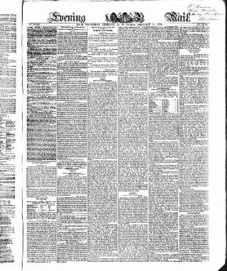 cover page of Evening Mail published on February 17, 1854