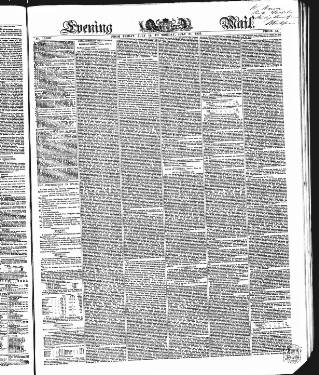 cover page of Evening Mail published on July 21, 1856
