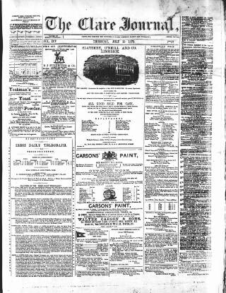 cover page of Clare Journal, and Ennis Advertiser published on July 18, 1872
