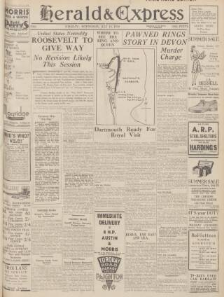 cover page of Torbay Express and South Devon Echo published on July 19, 1939