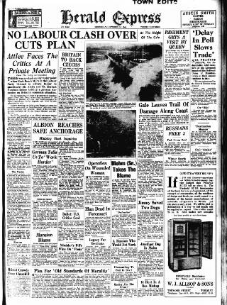 cover page of Torbay Express and South Devon Echo published on October 19, 1949