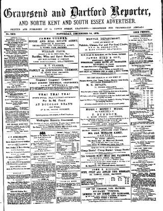 cover page of Gravesend Reporter, North Kent and South Essex Advertiser published on December 14, 1878