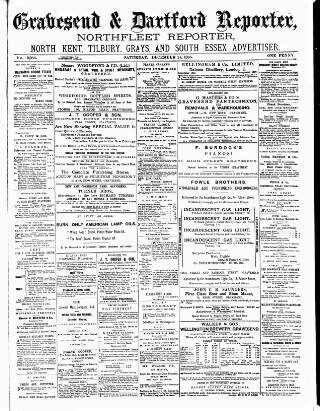 cover page of Gravesend Reporter, North Kent and South Essex Advertiser published on December 14, 1895