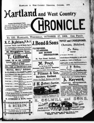 cover page of Hartland and West Country Chronicle published on October 17, 1906