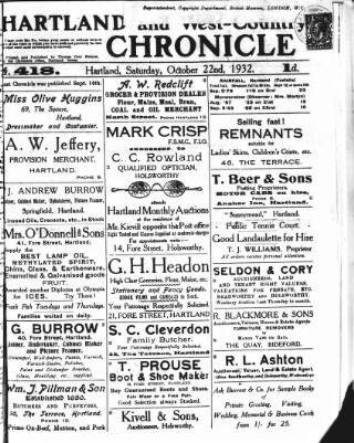 cover page of Hartland and West Country Chronicle published on October 22, 1932