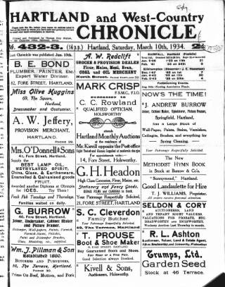 cover page of Hartland and West Country Chronicle published on March 10, 1934