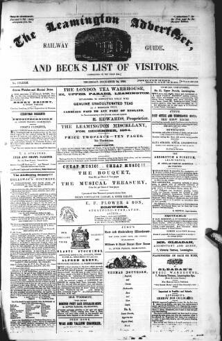 cover page of Leamington Advertiser, and Beck's List of Visitors published on December 14, 1854