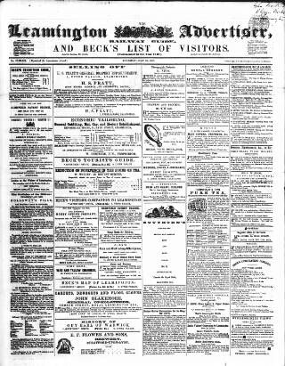 cover page of Leamington Advertiser, and Beck's List of Visitors published on July 16, 1857