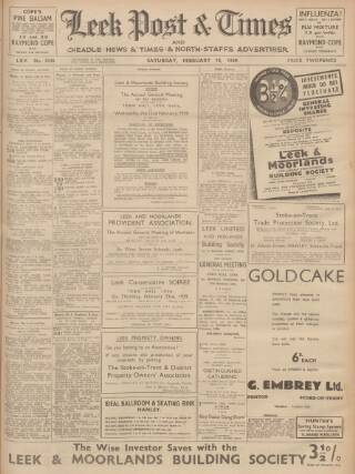 cover page of Leek Post & Times and Cheadle News & Times and Moorland Advertiser published on February 18, 1939