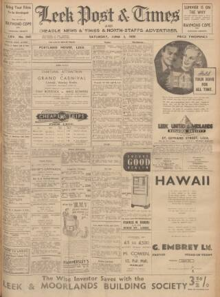 cover page of Leek Post & Times and Cheadle News & Times and Moorland Advertiser published on June 3, 1939