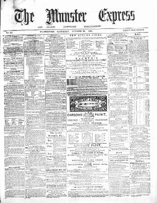 cover page of The Munster express, or, weekly commercial & agricultural gazette. published on October 28, 1871