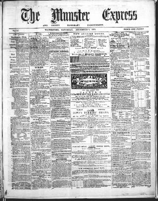 cover page of The Munster express, or, weekly commercial & agricultural gazette. published on December 2, 1871