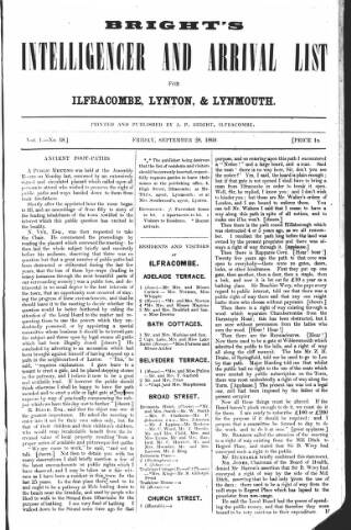 cover page of Bright's Intelligencer and Arrival List published on September 28, 1860