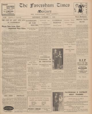 cover page of Faversham Times and Mercury and North-East Kent Journal published on October 7, 1939