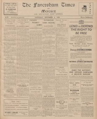 cover page of Faversham Times and Mercury and North-East Kent Journal published on December 9, 1939