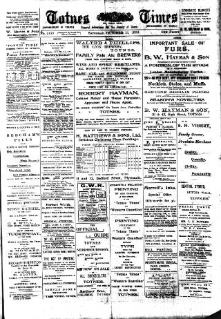 cover page of Totnes Weekly Times published on October 17, 1908