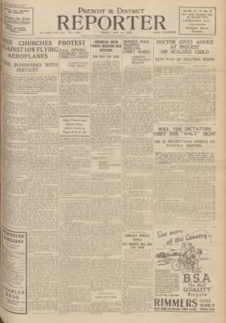 cover page of Prescot Reporter, and St. Helens General Advertiser published on May 19, 1939