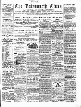 cover page of The Halesworth Times and East Suffolk Advertiser. published on February 19, 1861