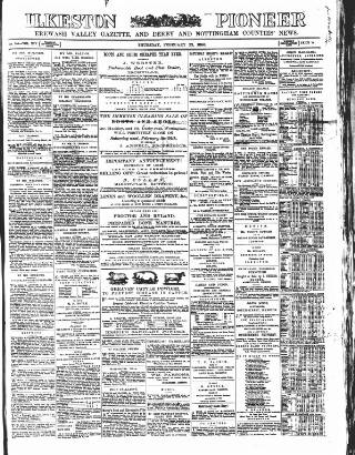 cover page of Ilkeston Pioneer published on February 22, 1866