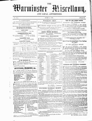 cover page of Warminster Miscellany, and Local Advertiser published on June 1, 1857