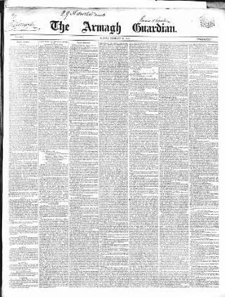 cover page of Armagh Guardian published on February 19, 1849