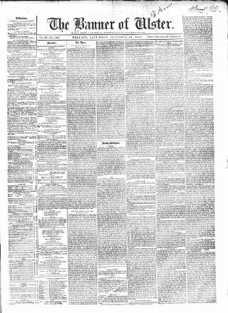 cover page of Banner of Ulster published on October 18, 1856