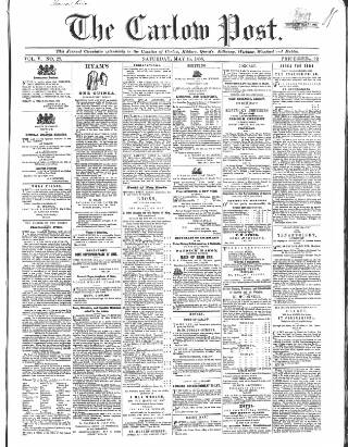 cover page of Carlow Post published on May 15, 1858