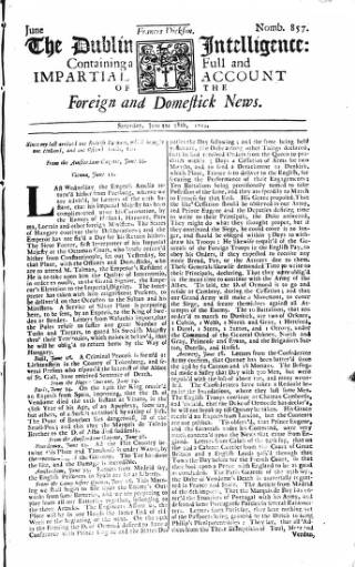 cover page of Dublin Intelligence published on June 28, 1712