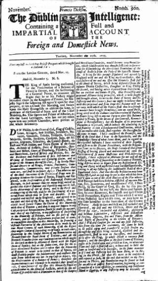 cover page of Dublin Intelligence published on November 25, 1712