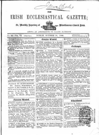 cover page of Irish Ecclesiastical Gazette published on October 19, 1864