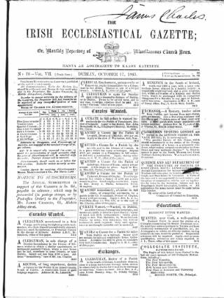 cover page of Irish Ecclesiastical Gazette published on October 17, 1865