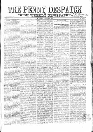cover page of Penny Despatch and Irish Weekly Newspaper published on July 19, 1862