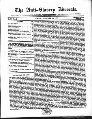 cover page of Anti-Slavery Advocate published on February 1, 1860
