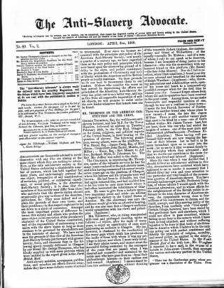 cover page of Anti-Slavery Advocate published on April 2, 1860