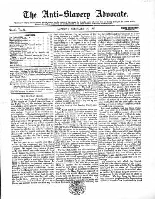 cover page of Anti-Slavery Advocate published on February 1, 1861