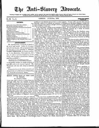 cover page of Anti-Slavery Advocate published on June 2, 1862