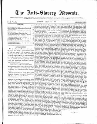 cover page of Anti-Slavery Advocate published on May 1, 1863