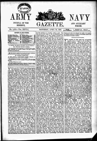 cover page of Army and Navy Gazette published on April 24, 1886