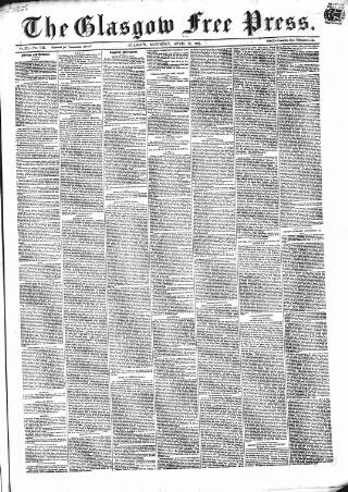 cover page of Glasgow Free Press published on April 23, 1859