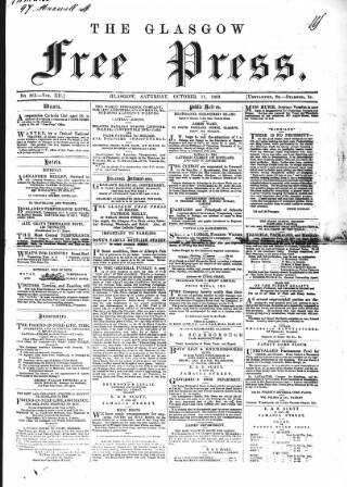 cover page of Glasgow Free Press published on October 17, 1863