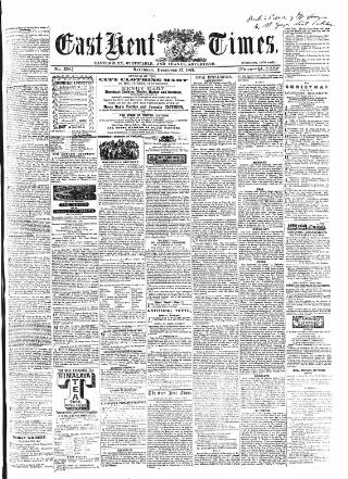 cover page of East Kent Times published on December 17, 1864