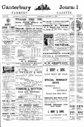 cover page of Canterbury Journal, Kentish Times and Farmers' Gazette published on January 23, 1904