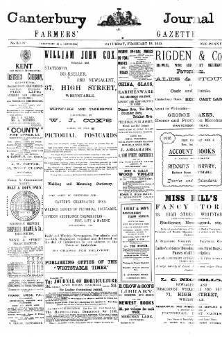 cover page of Canterbury Journal, Kentish Times and Farmers' Gazette published on February 19, 1910