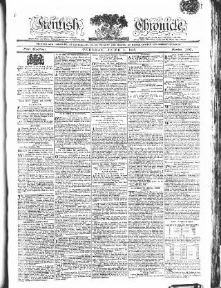 cover page of Kentish Weekly Post or Canterbury Journal published on June 1, 1813
